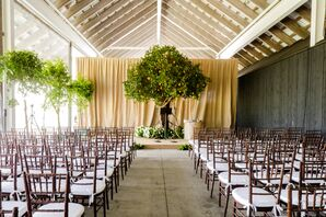 Modern Museum Ceremony with Tree Chuppah and Greenery