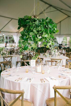 Hanging Green Garland Wedding Reception Centerpieces