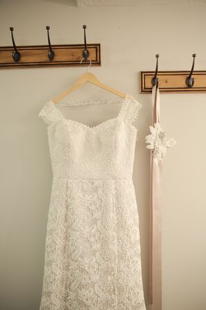 White Justin Alexander Dress with Lace Overlay