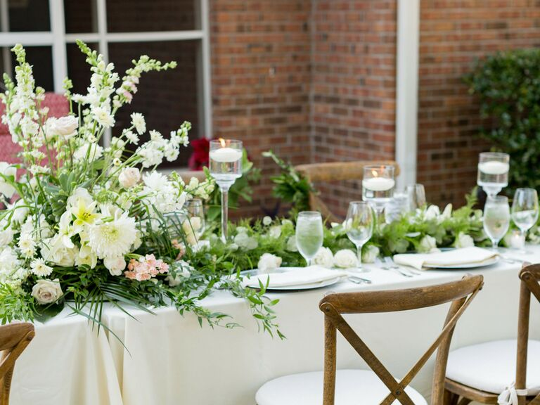 spring wedding centerpieces natural green and white florals