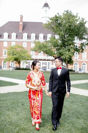 Bride in Red Chinese Cheongsam for Wedding at the University of Illinois