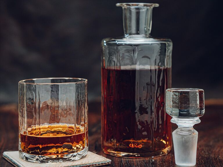 Trendy decanter and rocks glass set filled with whiskey