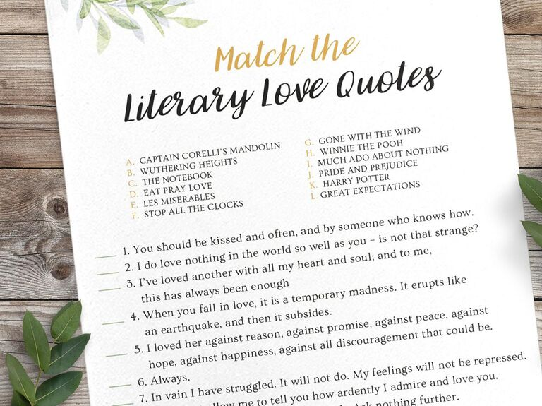Printable literary love quotes game