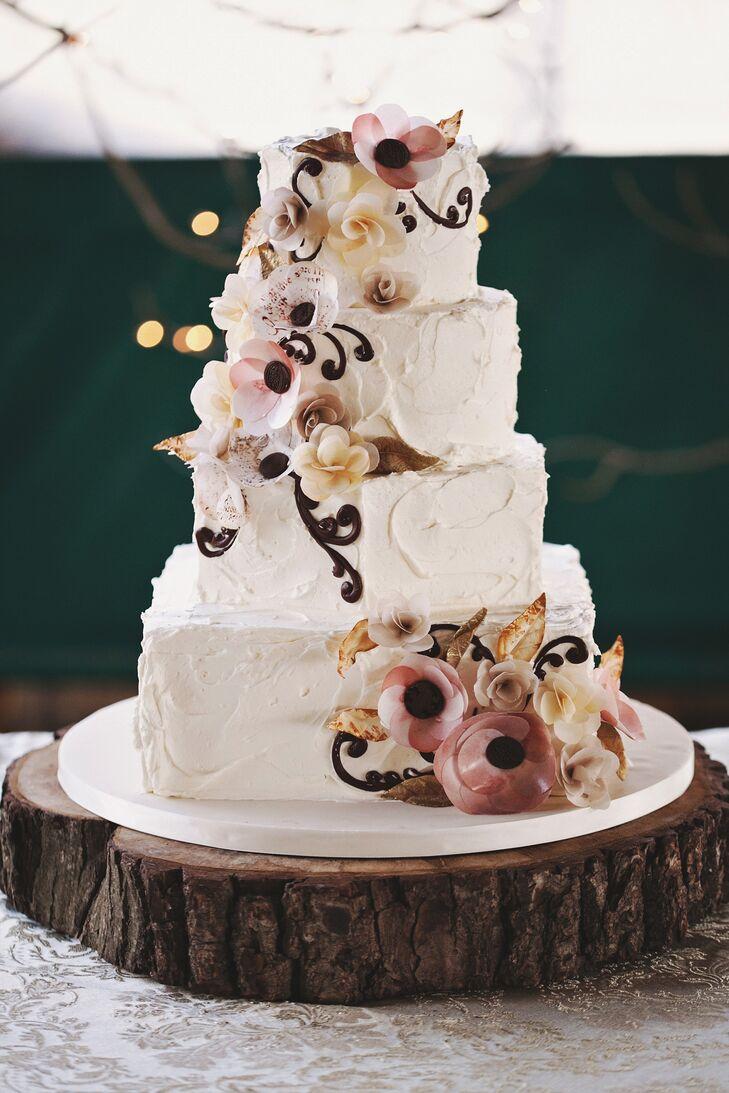 Buttercream Cake with Burgundy Sugar Calla Lilies