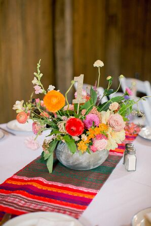 Bright Woven Table Runner and Ranunculus Centerpiece