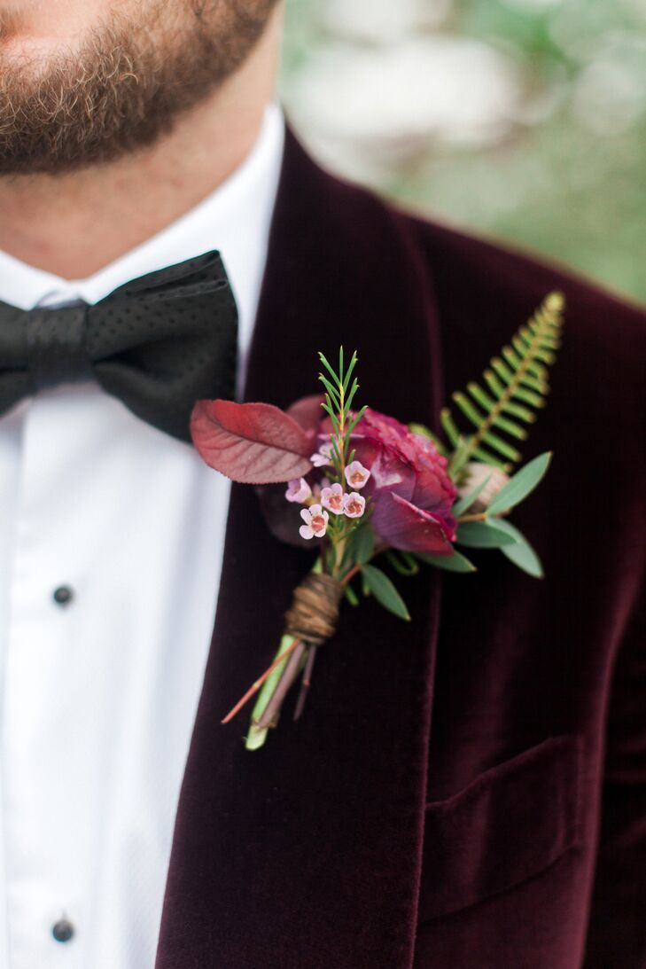 Burgundy Leaf, Rose and Fern Boutonniere