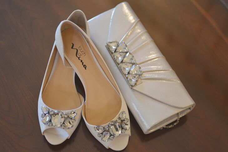 Silver Nina Heels and Clutch With Crystals