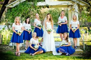 White and Royal Blue Bridesmaid Outfits
