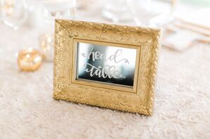 Mirrored, Gold-Framed Table Markers