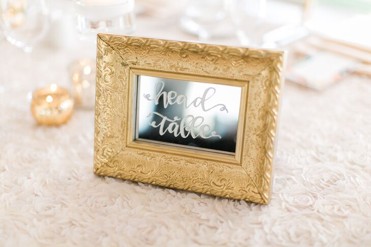 Each reception table was marked with a small mirror framed in gold and painted with calligraphy.