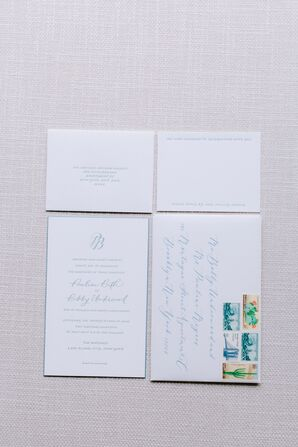 Classic and Simple Wedding Invitations with Blue Calligraphy