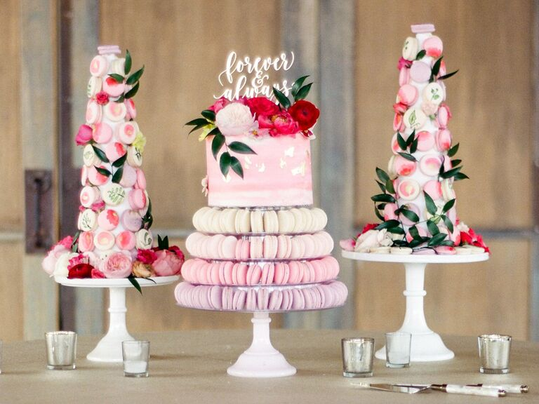 Simple, Romantic Table With Wedding Cake and Macaron Towers