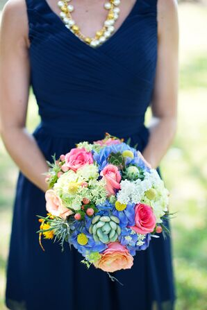 Vibrant Hydrangea, Rose and Succulent Bridesmaid Bouquet
