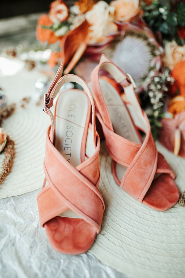 Coral-Hued Shoes for Wedding at Fancy Free Nursery in Tampa, Florida