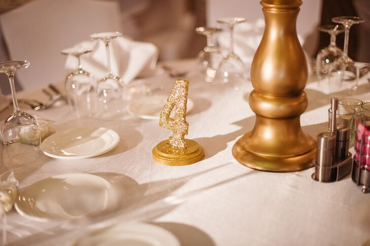 The table numbers added a little glamour to the reception with some sparkly gold flair.