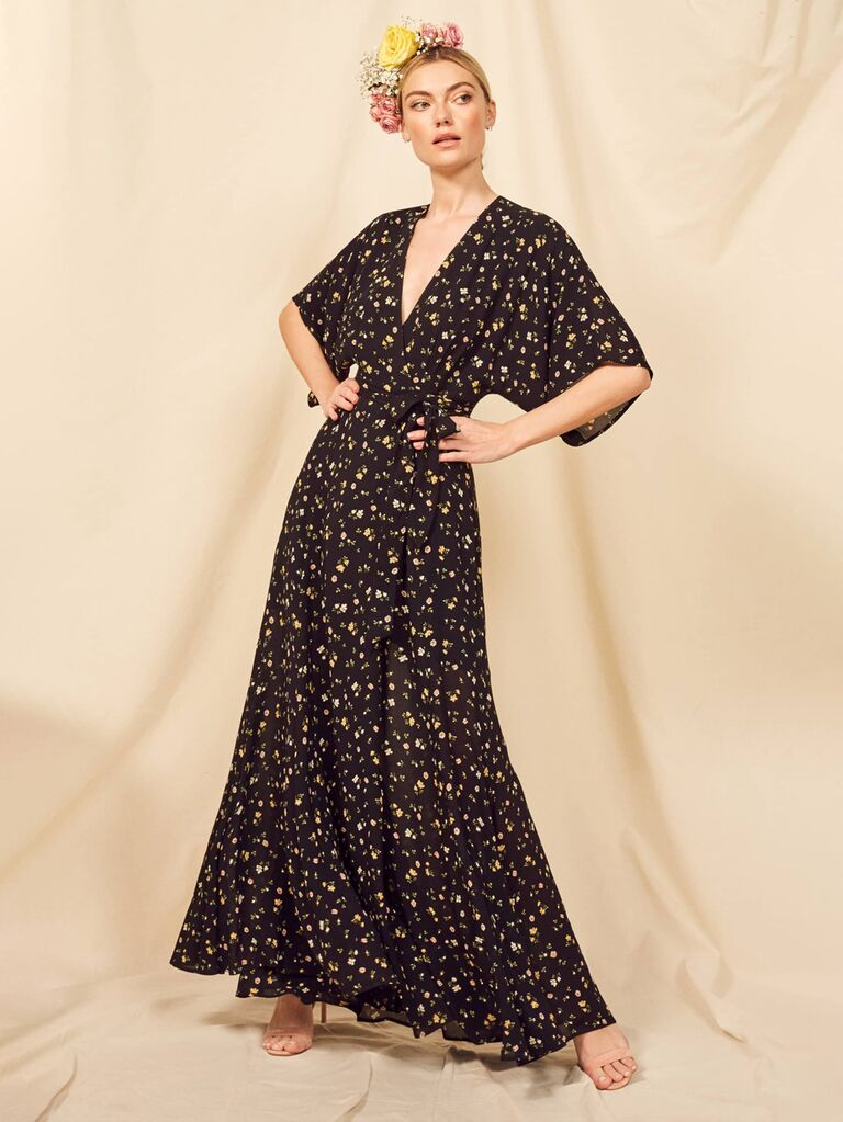 Black and yellow casual floral bridesmaid dress