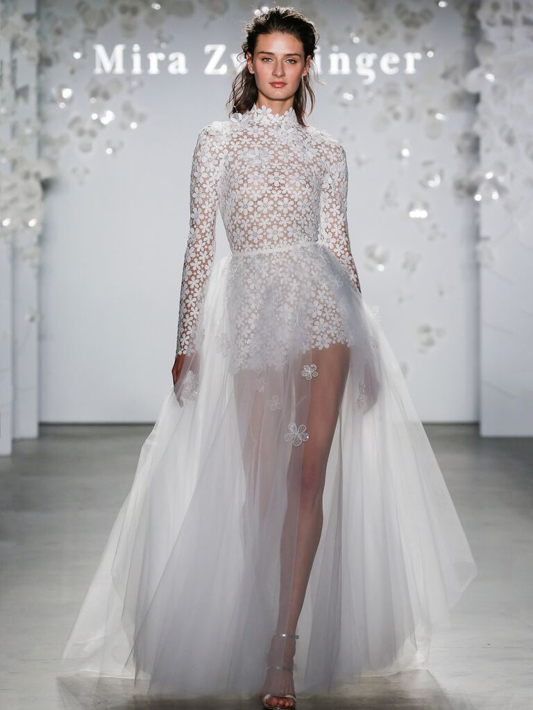 Mira Zwillinger Spring 2020 Bridal Collection floral long-sleeve high neck wedding dress with a sheer tulle overlay skirt