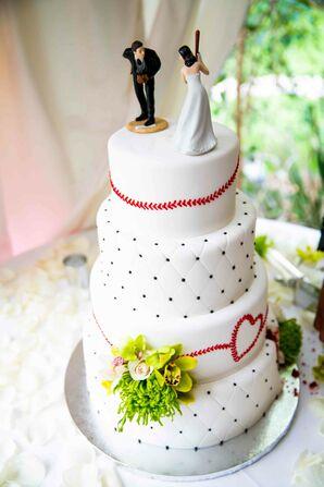 Baseball-Inspired White Wedding Cake