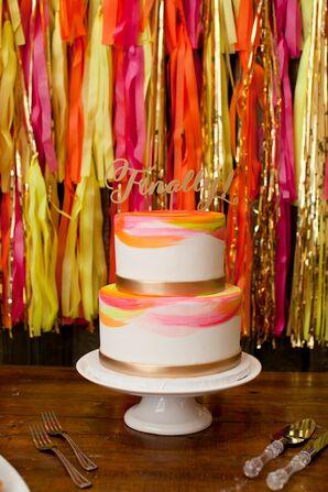 Hand-Painted Neon Wedding Cake