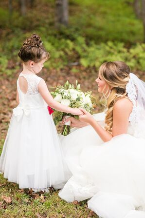 Lace Key-Hole Back Flower Girl Dress