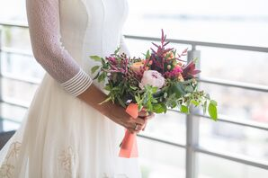 Textured Burgundy and Coral Bridal Bouquet