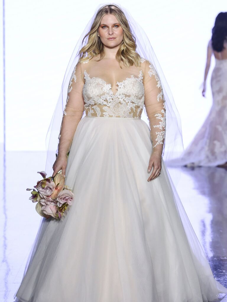 Watters Fall 2019 Bridal Collection sexy wedding dress with illusion lace bodice