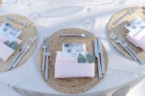 Natural, Woven Chargers Topped with Blush Napkins
