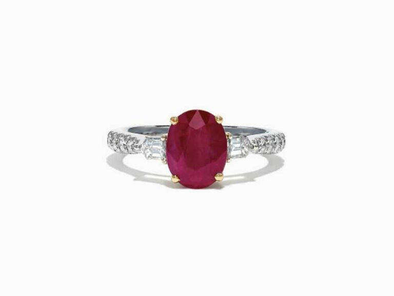 Ruby engagement ring with diamond side stones