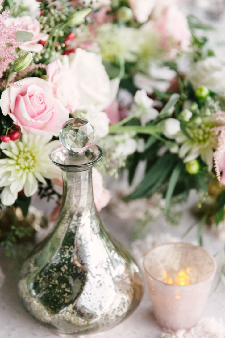 Silver Bottle Centerpiece Accent with Crystal Top