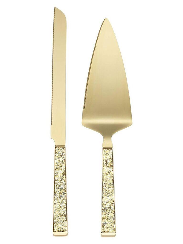 Sparkle wedding cake knife and server set
