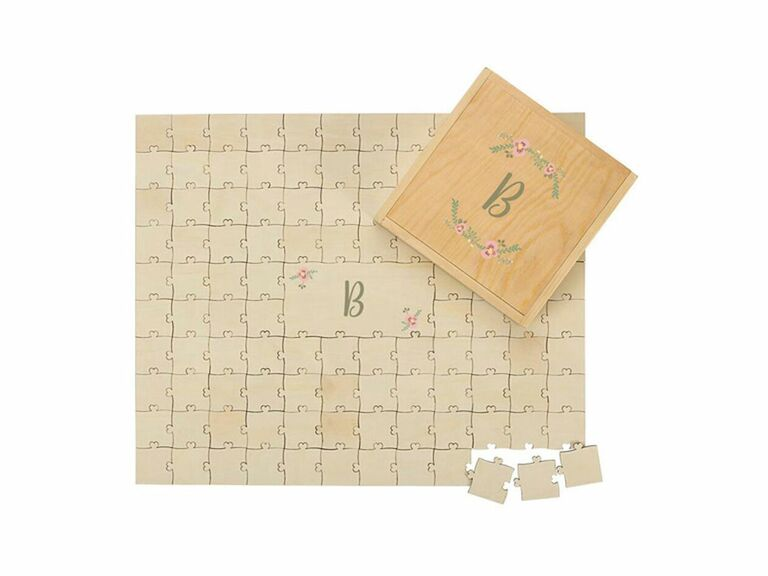 Wooden puzzle guest book with monogram and floral details