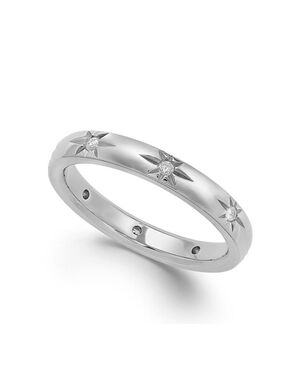 Macy's Fine Jewelry Star by Diamond Star Wedding Band in 18k White Gold (1/8 ct. t.w.) White Gold Wedding Ring