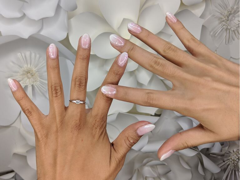 pink and white ombre wedding nails