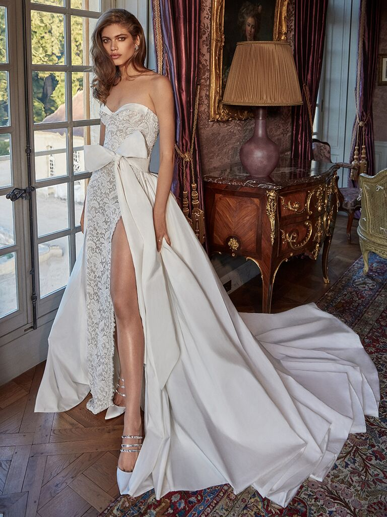 Galia Lahav strapless lace gown with bow overskirt detachable