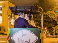 Couple exiting in pedicab
