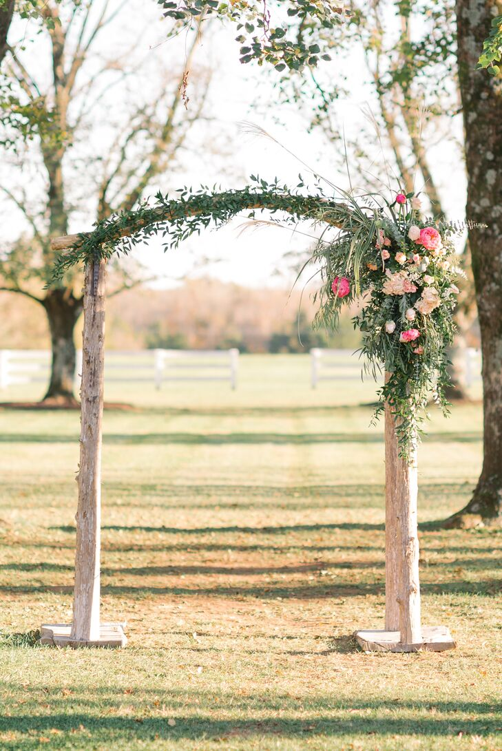 At Castle Hill in Keswick, Virginia, the brides exchanged vows under two large linden trees and a rustic altar decked out in pink peonies and roses.