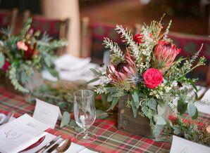 Red Protea, Leucadendron, Garden Rose Centerpieces