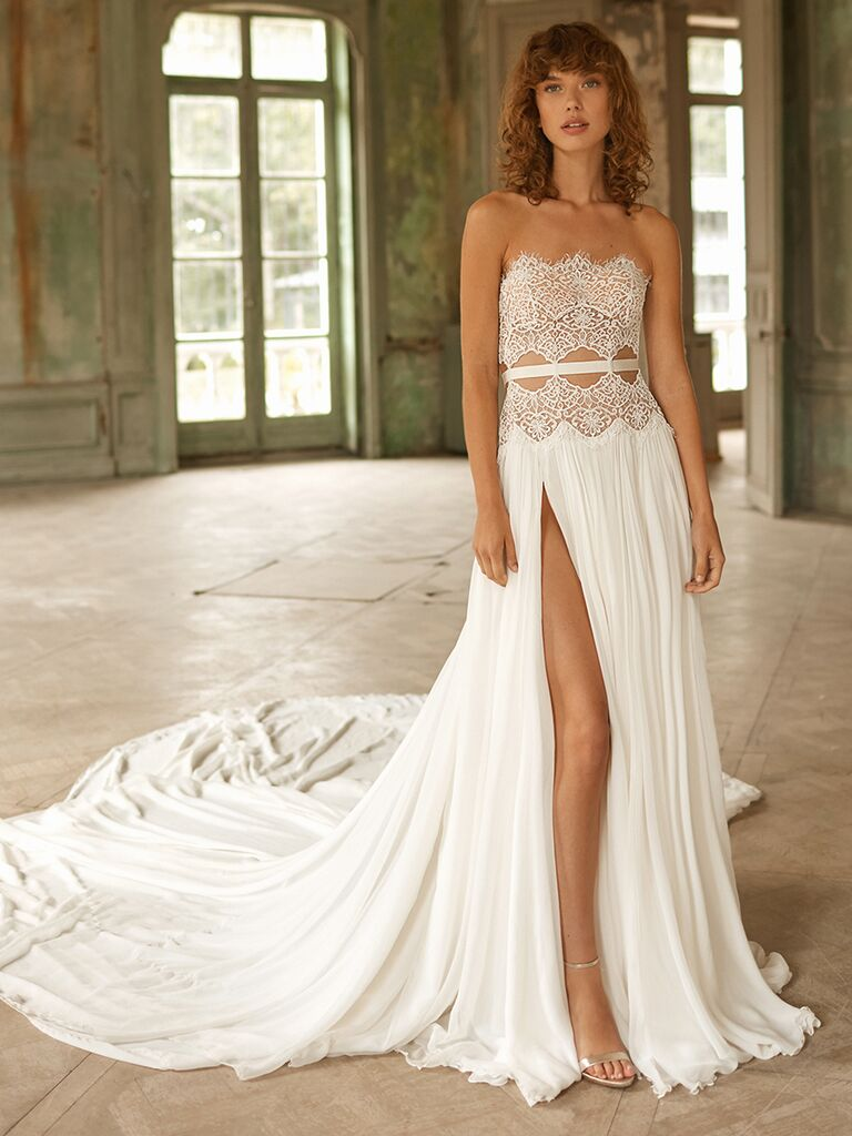 Dana Harel strapless dress with lace bodice and cutouts