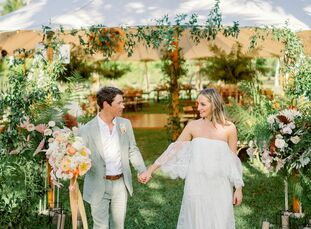 Since Jamie is originally from California, it was only natural that her wedding to Casey channel a bohemian west coast vibe with an explosion of flora