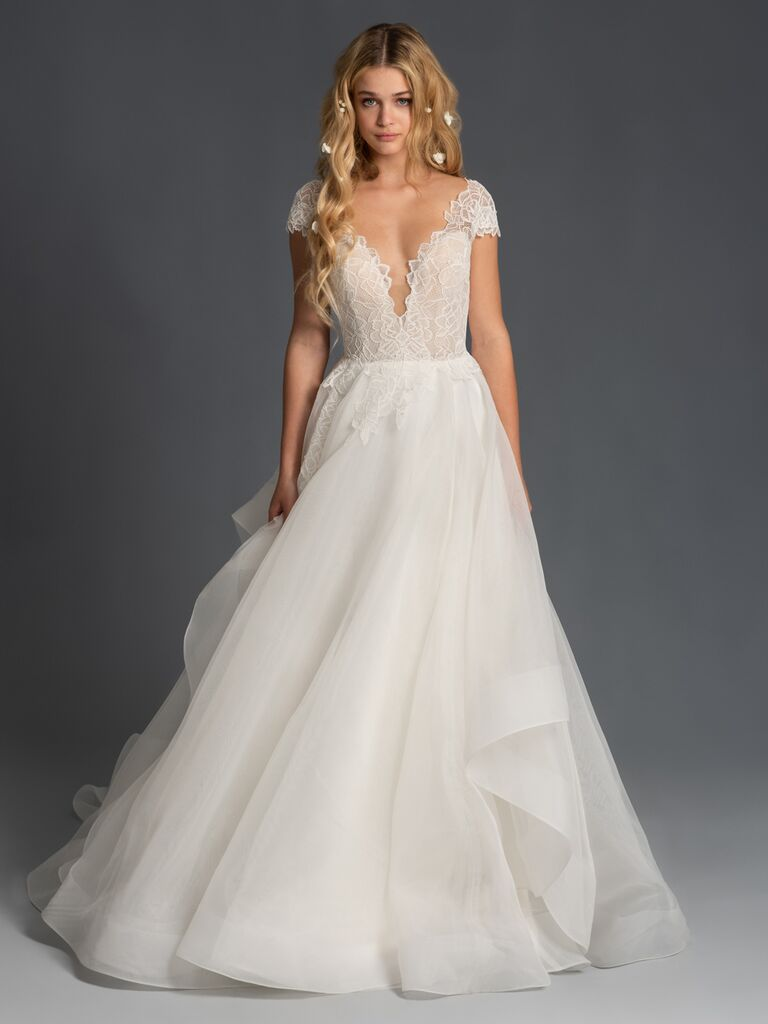 Blush by Hayley Paige Fall 2019 A-line wedding dress with lace cap-sleeve bodice