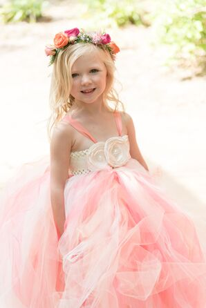 Pink Tulle Flower Girl Dress with Rosettes