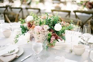 Loose Organic Rose, Ranunculus and Dahlia Centerpiece