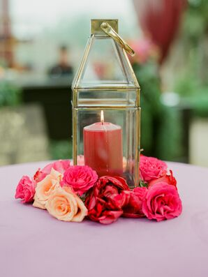 Red Candle, Pink Roses and Glass Lantern