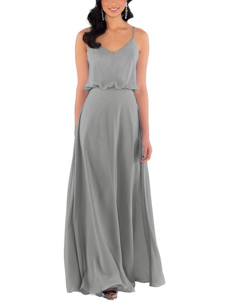 Long silver gray bridesmaid dress