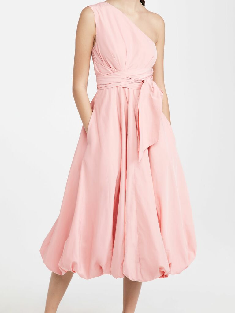 one shoulder dress with bubble hem in pastel pink