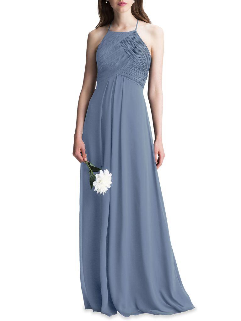 Ruched blue gray bridesmaid dress