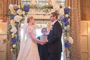 White and Blue Hydrangea Wedding Arch