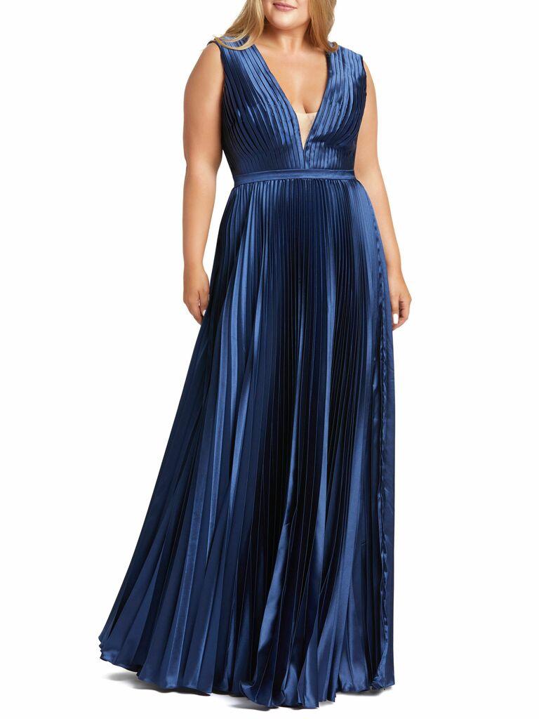 pleated dark blue maxi gown with deep v neckline