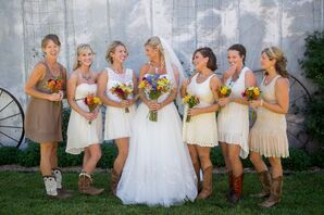 DIY Different-Styled White Bridesmaid Dresses