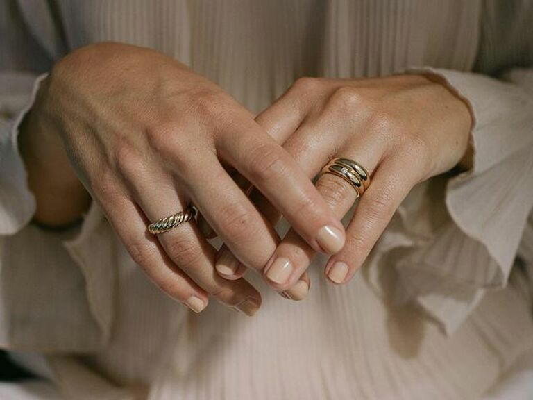 Chunky gold stacked wedding bands